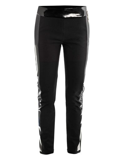 Les Chiffoniers Leather-trimmed neoprene leggings