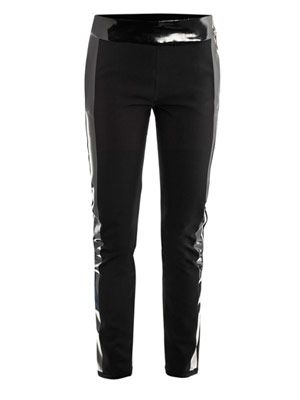 Leather-trimmed neoprene leggings