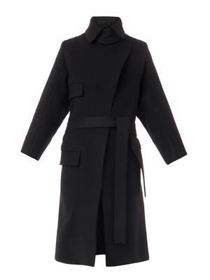 Wool-felt tailored coat