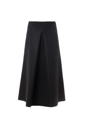 Pleat-front midi skirt