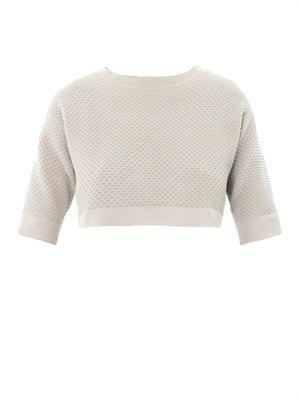 Waffle-knit cropped sweater