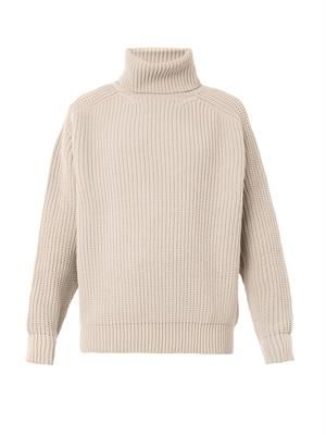Roll-neck chenile-knit sweater