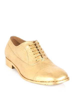 Gold leaf treated lace-ups
