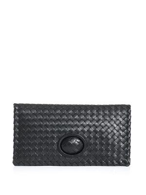 Intrecciato woven turn lock clutch