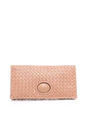 Woven leather fold-over clutch