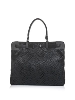 Leather stitch work woven bag