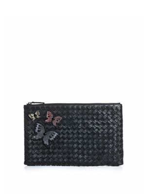 Butterfly Ayers and leather clutch