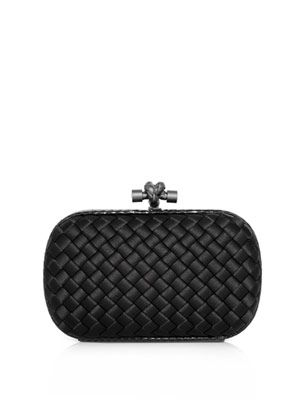 Intrecciato satin and snake clutch