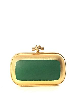 Oro gilded leather knot clutch