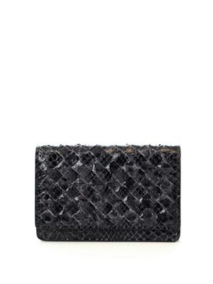 Woven python credit card holder
