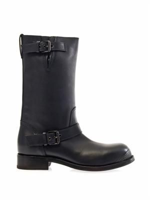 Navy-leather buckled boots