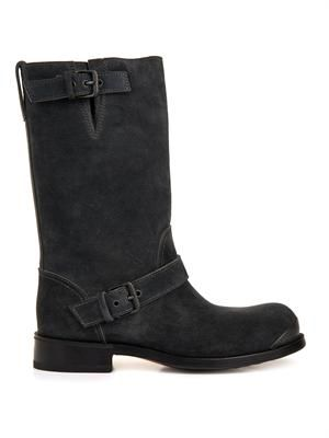 Suede buckled biker boots