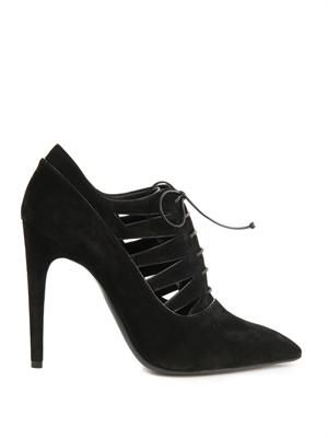 Suede cut-out ankle boots