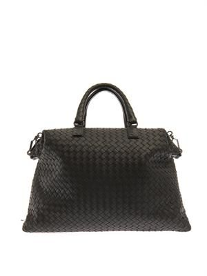 Intrecciato leather convertible tote