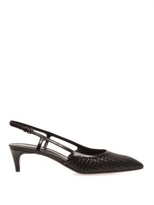 Woven leather slingback pumps