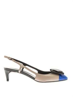 Bow-front leather slingbacks