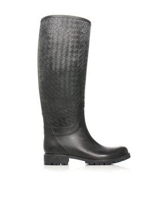 Intrecciato woven rubber rain boots