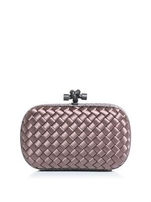 Intreciatto-woven satin and watersnake clutch