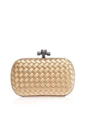 Intrecciato-woven satin & water snake clutch