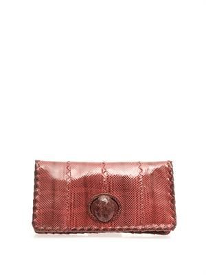 East West snakeskin and leather clutch