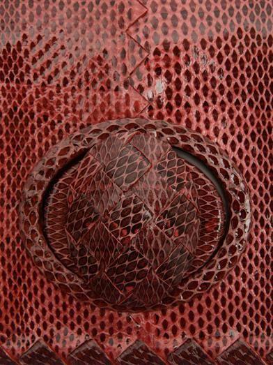 Bottega Veneta East West snakeskin and leather clutch