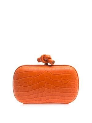 Knot crocodile-skin clutch