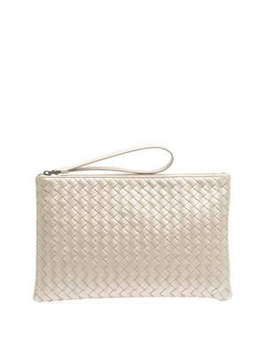 Intrecciato leather clutch