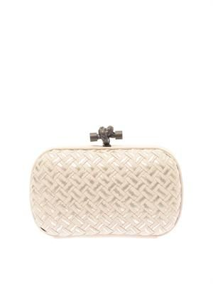 Knot embroidered leather clutch