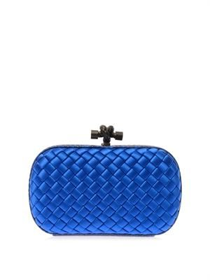 Knot satin & watersnake clutch