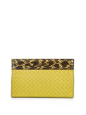 Snakeskin and intrecciato leather clutch