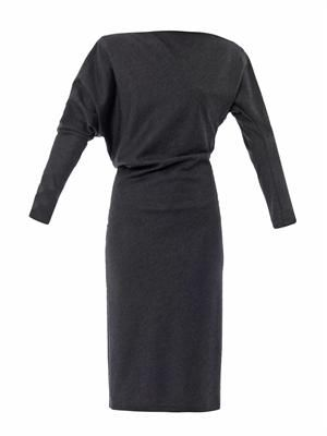 Asymmetrical wool-jersey drape dress