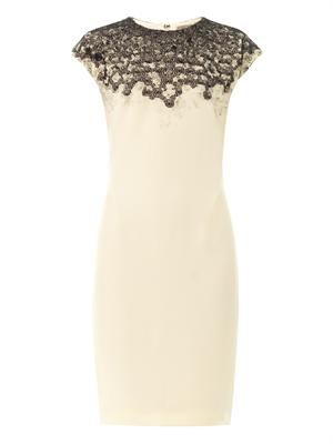 Lace-embroidered crepe dress