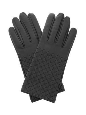 Intrecciato leather gloves