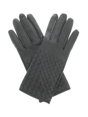 Intrecciato leather gloves