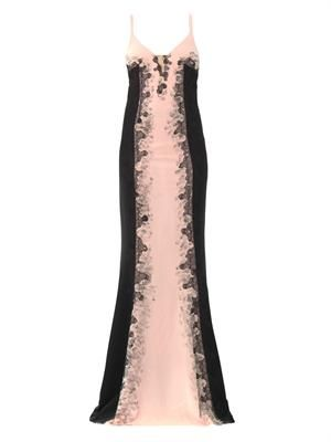 Lace embroidered crepe gown