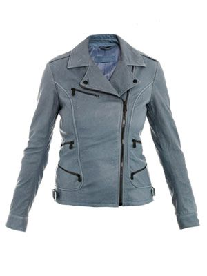 Washed nappa leather biker jacket
