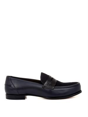 Leather and calf-hair penny loafers