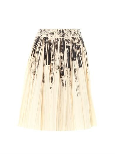 Bottega Veneta Colour-block on light-print pleat skirt