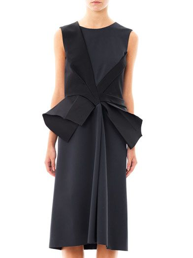 Bottega Veneta Bi-colour pleat-peplum dress
