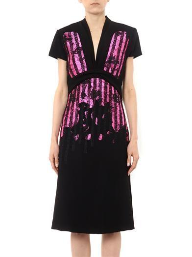 Bottega Veneta Embroidered Japanese-crepe dress