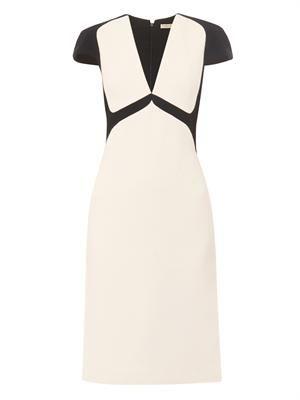 Bi-colour wool-crepe dress