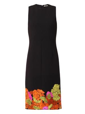 Flower-embroidered crepe dress