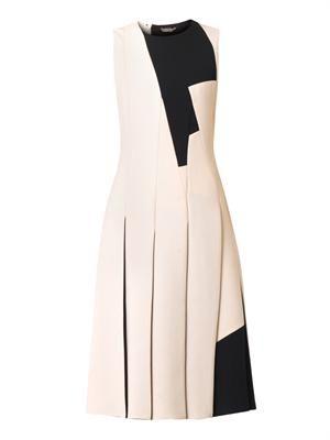 Bi-colour multi-panel crepe dress