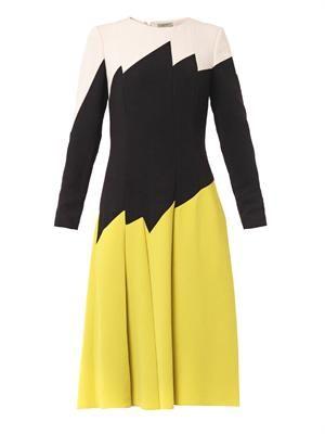 Ti-colour pleated dress