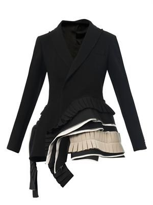 Bi-colour pleated crepe jacket