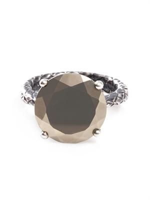 Pyrite stone and silver ring