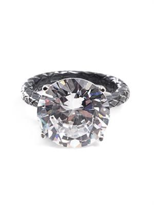 Cubic zirconia and silver ring