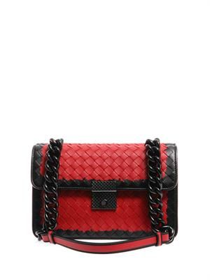 Bi-colour intrecciato leather shoulder bag