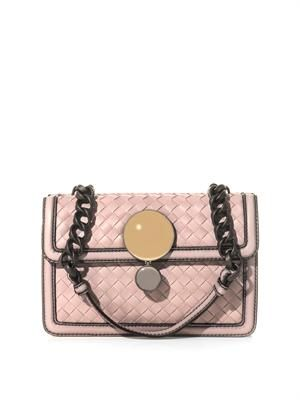 Sphere intrecciato leather shoulder bag