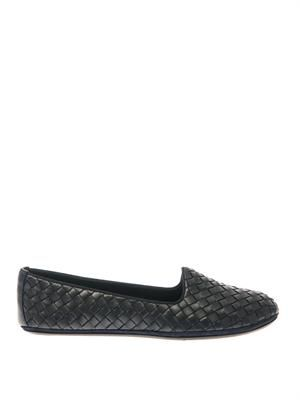 Intrecciato woven leather slippers